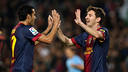 Pedro and Messi celebrate a goal against Zaragoza (3-1) / PHOTO: ARCHIVE FCB