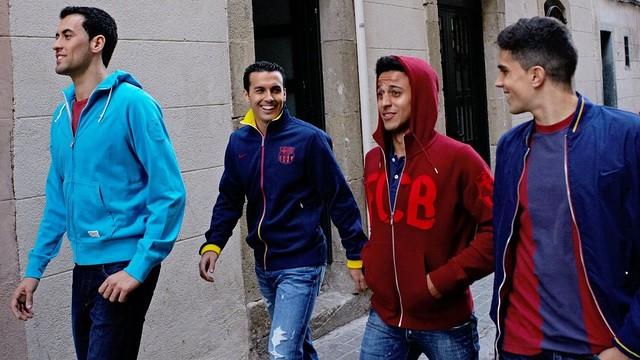 Sergio, Pedro, Thiago and Bartra, in Barcelona / PHOTO: Sergi Jasanada