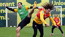 Mascherano andi Puyol in a training session PHOTO: MIGUEL RUIZ - FCB