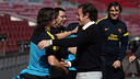 Carles Puyol and Sandro Rosell  / PHOTO: MIGUEL RUIZ-FCB