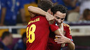 Alba et Xavi, pendant l'Euro / PHOTO: CARMELO RUBIO
