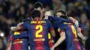 A goal celebration at Camp Nou / FOTO: MIGUEL RUIZ-FCB