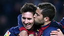Alba and Messi celebrate goals against Athletic Bilbao last season (5-1) / PHOTO: MIGUEL RUIZ-FCB