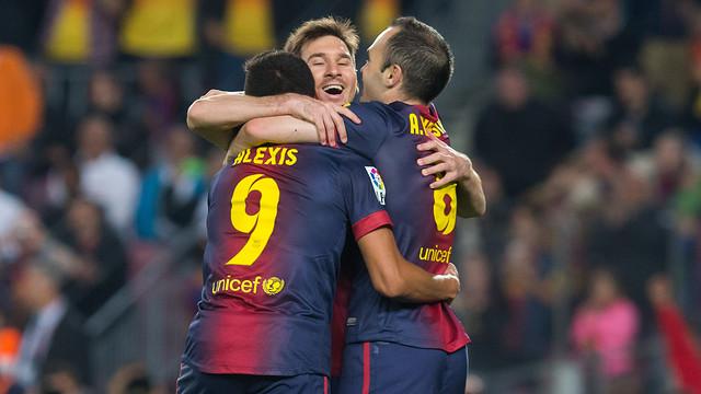 Messi, Alexis and Iniesta PHOTO: ARXIU FCB