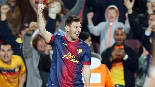 Leo Messi celebrates one of his two goals against Betis / PHOTO: MIGUEL RUIZ-FCB