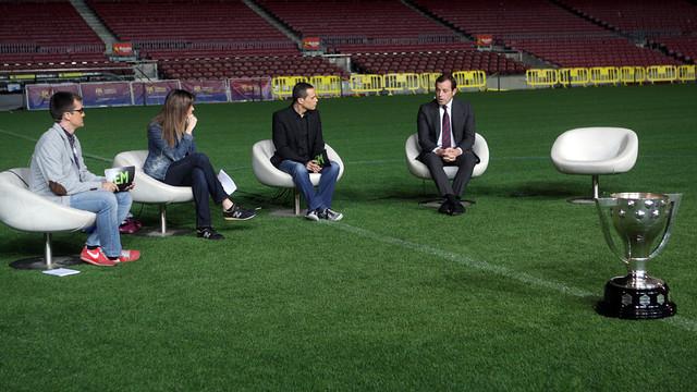 Sandro Rosell in the league championship special on Barça TV / FOTO: MARTA BECERRA - FCB