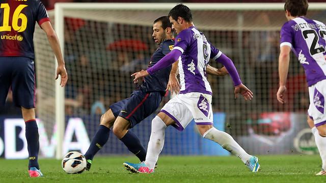 Javier Mascherano, in last season's game against Valladolid / PHOTO: MIGUEL RUIZ-FCB