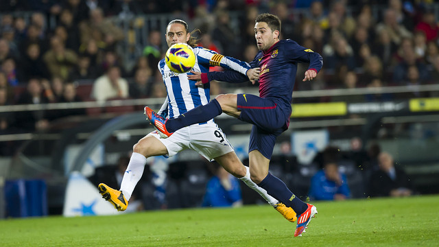 Jordi Alba and Sergio García in the game between the sides at the Camp Nou in January / PHOTO: ÁLEX CAPARRÓS – FCB
