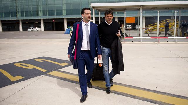 El técnico Ricard Muñoz y el directivo Ramón Cierco, en Barcelona / FOTO: ÁLEX CAPARRÓS-FCB