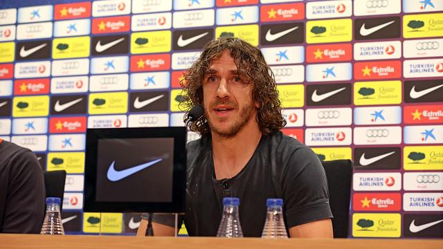 Puyol, en roda de premsa aquest divendres / FOTO: MIGUEL RUIZ - FCB