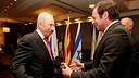 Sandro Rosell with Simon Peres during the Club president's last visit to Israel / PHOTO: DANIEL BARÓN