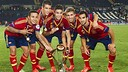 Thiago, Tello, Bartra, Muniesa and Montoya with the trophy / PHOTO: AFP
