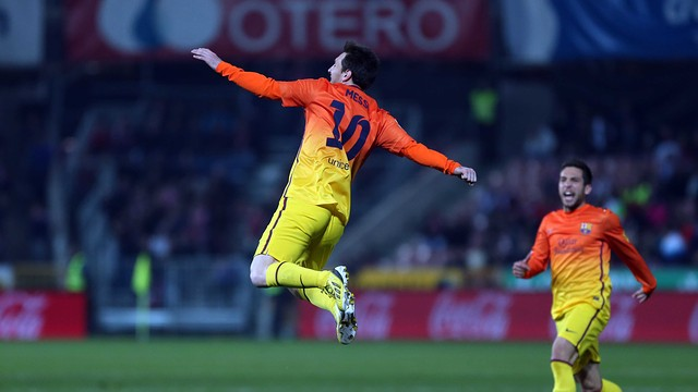 Messi celebrates his goal against Granada / PHOTO: MIGUEL RUIZ - FCB
