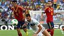 Pedro and Jordi Alba against Italy / PHOTO: FIFA.COM