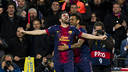 Villa celebrates a goal against AC Milan / PHOTO: ARXIU FCB