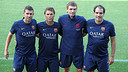 •	From left to right, Melero, Rubi, Vilanova and Torras. PHOTO: MIGUEL RUIZ-FCB.