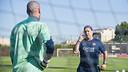 Valdés i Martino, durant l'entrenament / FOTO: VÍCTOR SALGADO-FCB