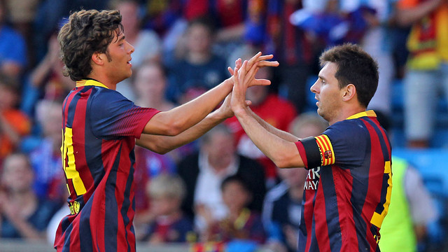 Sergi Roberto with Leo Messi in the game against Valerenga / PHOTO: MIGUEL RUIZ - FCB
