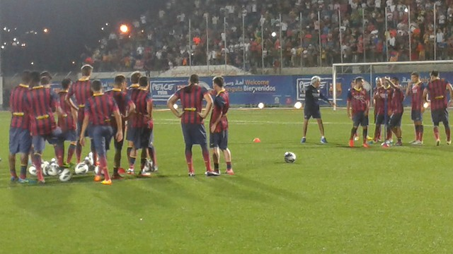 Training in the Dura municipal stadium
