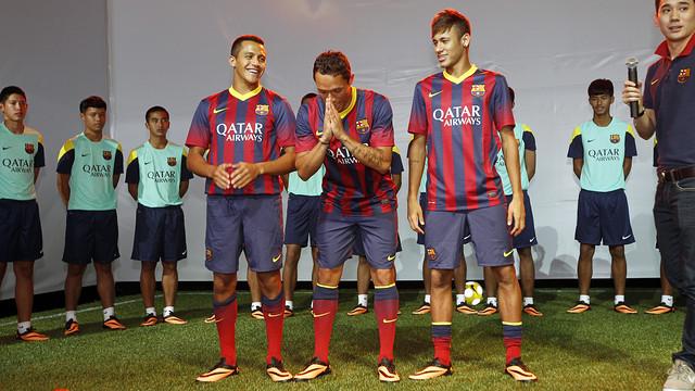 Neymar, Alexis i Adriano, en un acte amb Nike / FOTO: MIGUEL RUIZ - FCB