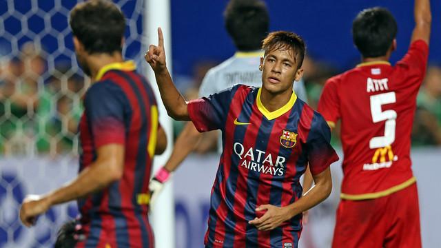 El primer gol de Neymar amb el Barça, a Tailàndia. FOTO: MIGUEL RUIZ-FCB.