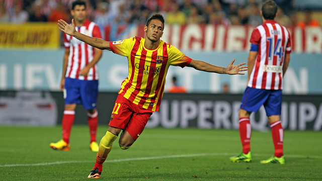 Neymar Jr celebrating his goal at the Vicente Calderon in the Spanish Super Cup  / PHOTO: MIGUEL RUIZ - FCB