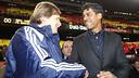 Schuster, amb Rijkaard, al Camp Nou / FOTO: MIGUEL RUIZ-FCB
