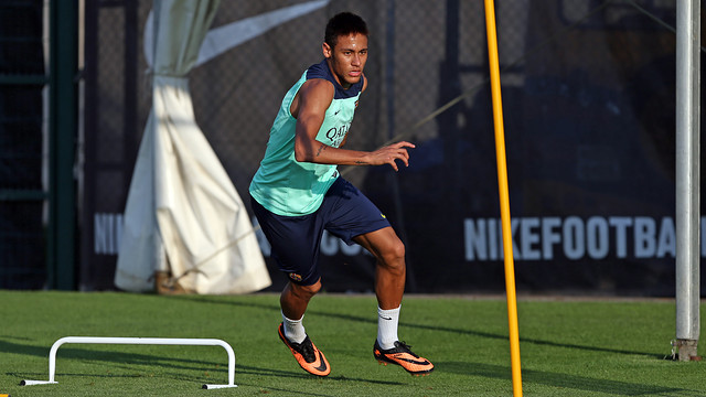 Neymar Jr, durant l'entrenament d'aquest divendres / FOTO: MIGUEL RUIZ-FCB