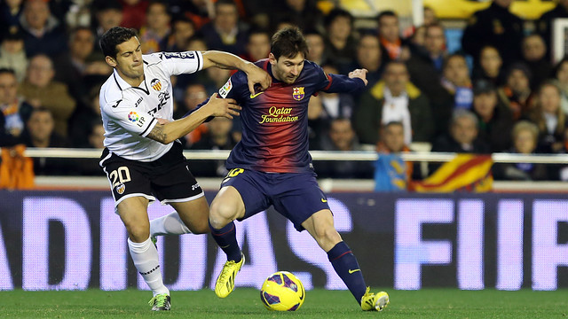 Messi in action at Mestalla / Photo: FCB archive