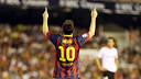 Messi celebrates one of his goals in Mestalla / PHOTO: MIGUEL RUIZ - FCB
