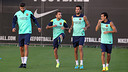 Piqué, Alba, Busquets and Pedro / PHOTO: MIGUEL RUIZ - FCB