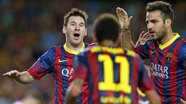 Messi, Neymar and Cesc celebrate the Argentinian's goal / PHOTO: MIGUEL RUIZ - FCB