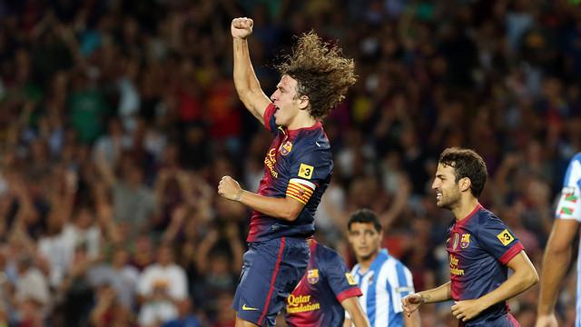 Puyol celebrates scoring against Real Sociedad last season / PHOTO: MIGUEL RUIZ - FCB
