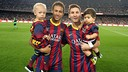 Neymar and Messi with their sons. PHOTO: MIGUEL RUIZ - FCB
