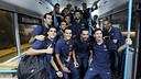 L'equip celebra el récord del millor inici a la Lliga / FOTO: MIGUEL RUIZ - FCB