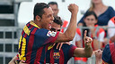 Adriano, Cesc and Xavi in Almeria. PHOTO: MIGUEL RUIZ-FCB.