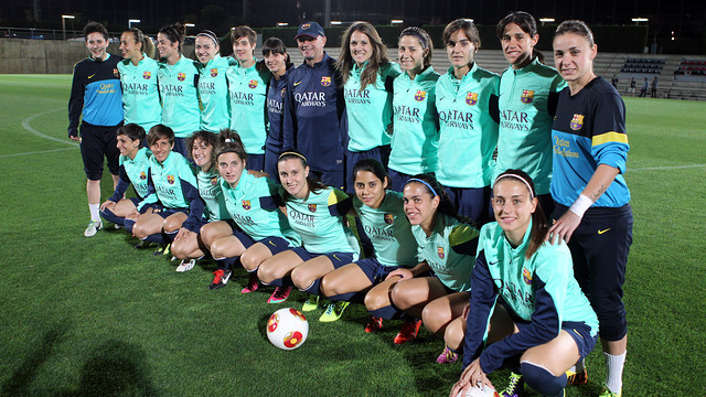 The Barça ladies on Tuesday at the Ciutat Esportiva