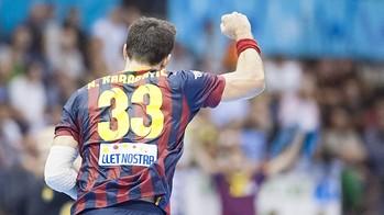 Vista de espaldas de Nikola Karabatic, celebrando un gol del Barça de balonmano /FOTO:ARCHIVO-FCB