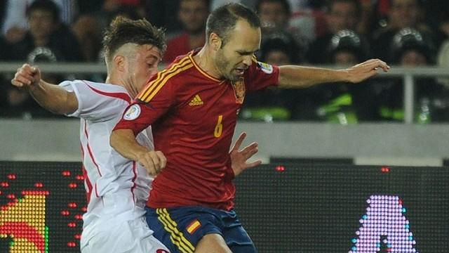 Iniesta during Spain's last game against Georgia / PHOTO: FIFA.COM
