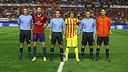 Puyol with Damià and the four officials / PHOTO: MIGUEL RUIZ - FCB