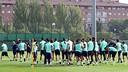 Els jugadors escolten les paraules de Martino / FOTO: MIGUEL RUIZ - FCB