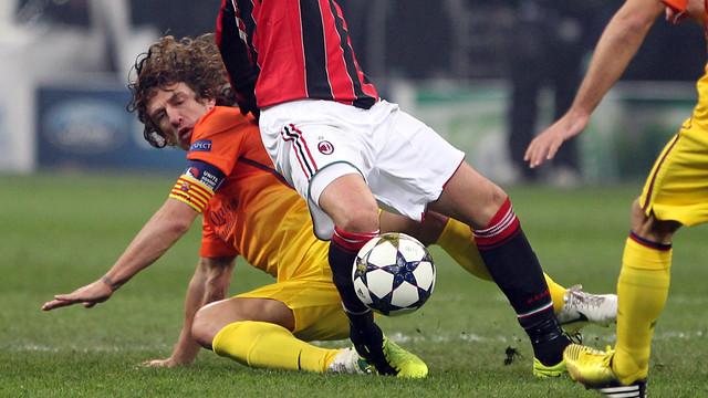 Puyol against Milan last season. PHOTO: MIGUEL RUIZ-FCB.