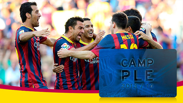Xavi, Busquets, Pedro and Messi celebrate a goal
