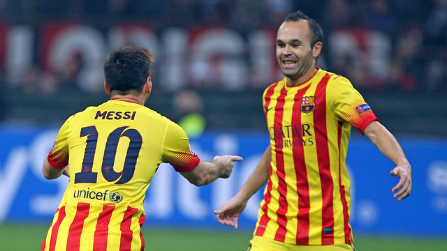Messi and Iniesta celebrating tonight's goal / PHOTO: MIGUEL RUIZ - FCB