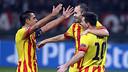 Xavi celebrates with Messi / PHOTO: MIGUEL RUIZ - FCB