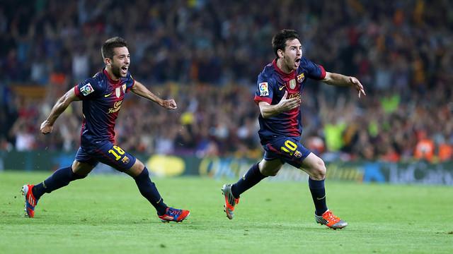 Jordi Alba persegueix Messi a l'últim Clàssic de Lliga. FOTO: MIGUEL RUIZ-FCB.