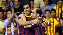 Wilde and Gabriel celebrte the first goal in the match / FOTO: MIGUEL RUIZ-FCB