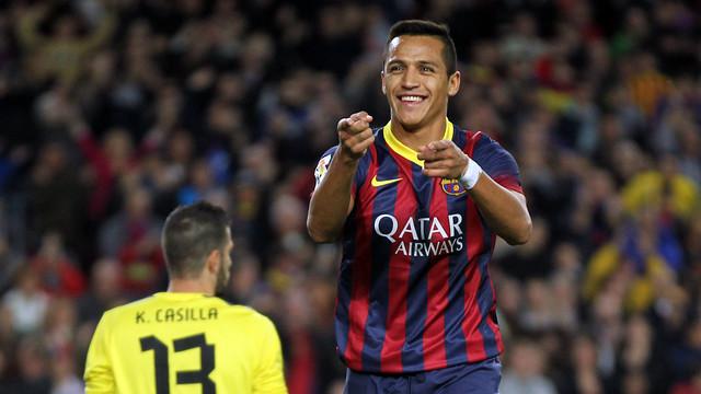 Alexis celebra el gol contra l'Espanyol / FOTO: MIGUEL RUIZ-FCB