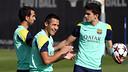 Alexis Sánchez in training with Marc Bartra and Martín Montoya / PHOTO: MIGUEL RUIZ - FCB