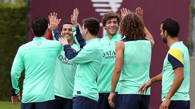 The Barça players training on Monday / PHOTO: MIGUEL RUIZ-FCB